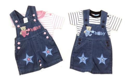 Baby Kids Boy Girl Denim Dungaree Baby Bear Design Set