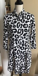 03dd0a59aff7 Details about MG Silk Collection Button Down Black & White Animal Print  Shirt Dress ~ Dize s