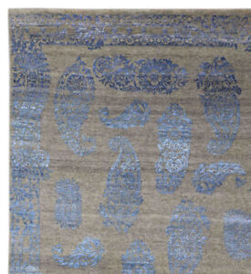 Paisley-BluDesign-5-039-7-034-x-7-039-10-Hand-Knotted-Oriental-Contemporary-Silk-amp-Wool-Rug