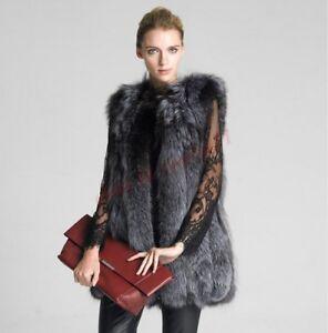 Fur Fox Vest Coat Jacket Sliver Faux Casual Wasitcoat Long Varm Kvinner European 4qg4pd