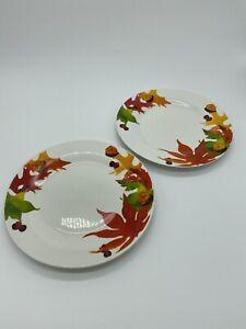 2 Royal Norfolk Fall Leaf Acorn Thanksgiving Dinner Plates Harvest Autumn