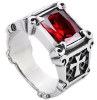 Ruby Red Stone With Cross Antique Silver Stainless Steel Mens Ring