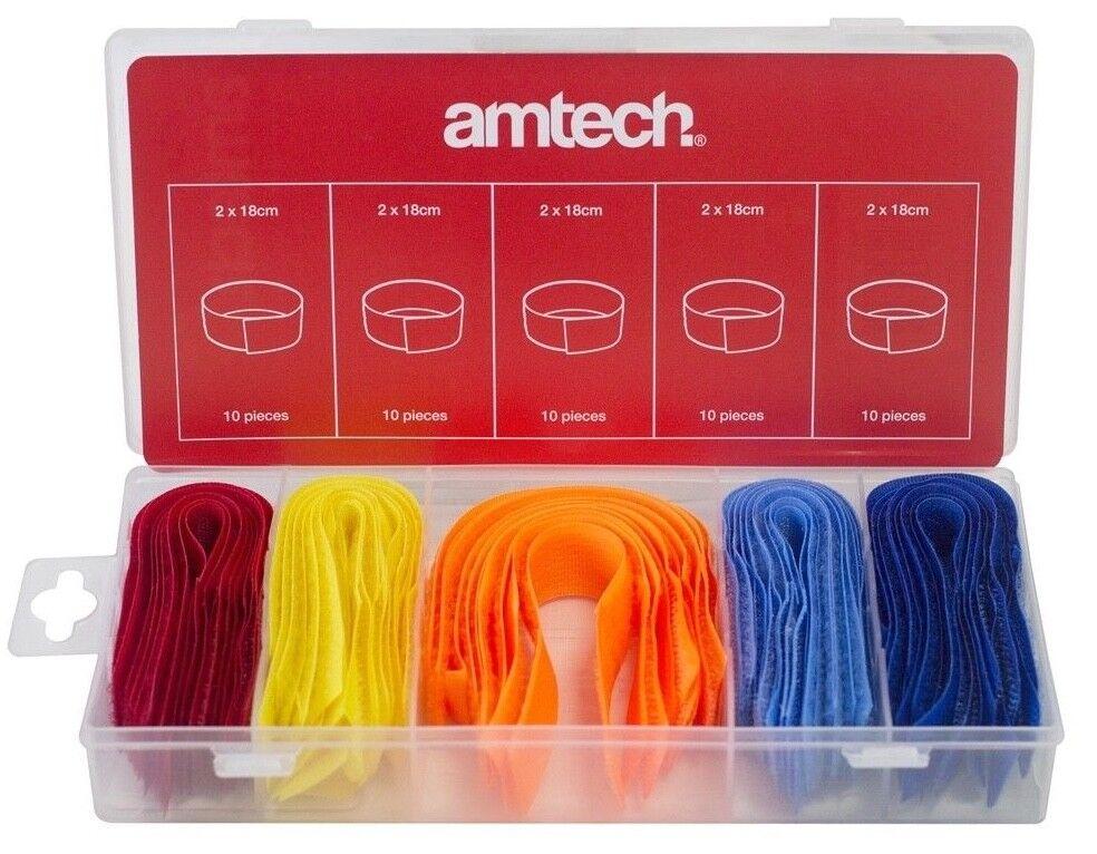 50pc Assorted Cable Adjustable Strap Hook Loop Reusable Multi Purpose Organiser