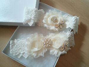 Wedding-garter-Bridal-Garter-Set-Ivory-Shabby-Flower-Garter-Set