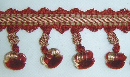 3.25 Ball Fringe Cranberry Red and Gold match Tassel Fringe Bullion Fringe Cord