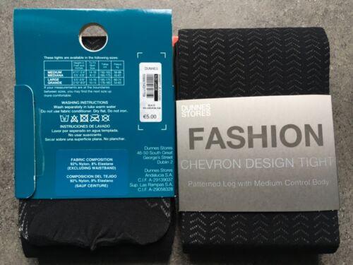 Fashion Collants Moyen Contrôle Noir Grande 2 Packs Chevron Dunnes Stores Qualité