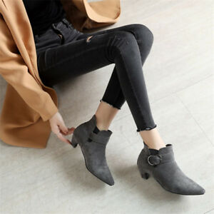 Elegant-Womens-Ankle-Boots-Pointed-Toe-Kitten-Heels-Suede-Buckle-Fashion-Booties