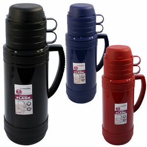 1L FLASK CAMPING VACUUM HOT COLD TEA DRINK BOTTLE & CUPS ...