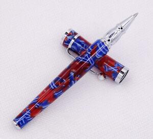 Fuliwen Beautiful Acrylic Rollerball Pen Blue and Red Pattern Gel Roller Pen