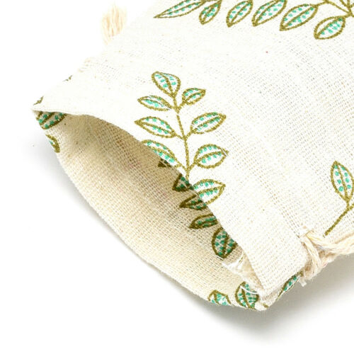 50x Leaf Drawstring Cotton Cloth Bags Gift Pouches Jewelry Packing Wheat 14x10cm