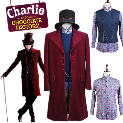 Cosplay Charlie and the Chocolate Factory Willy Wonka Johnny Depp Costume Suit