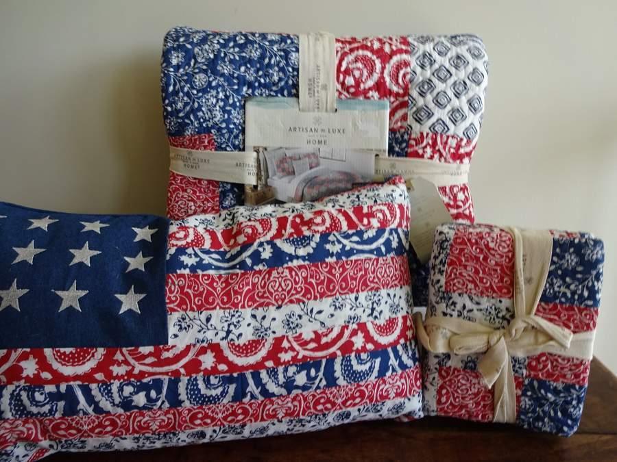 Artisan de Luxe AMERICAN FLAG rosso bianca blu PATRIOTIC Full QUEEN QUILT SET 4PC