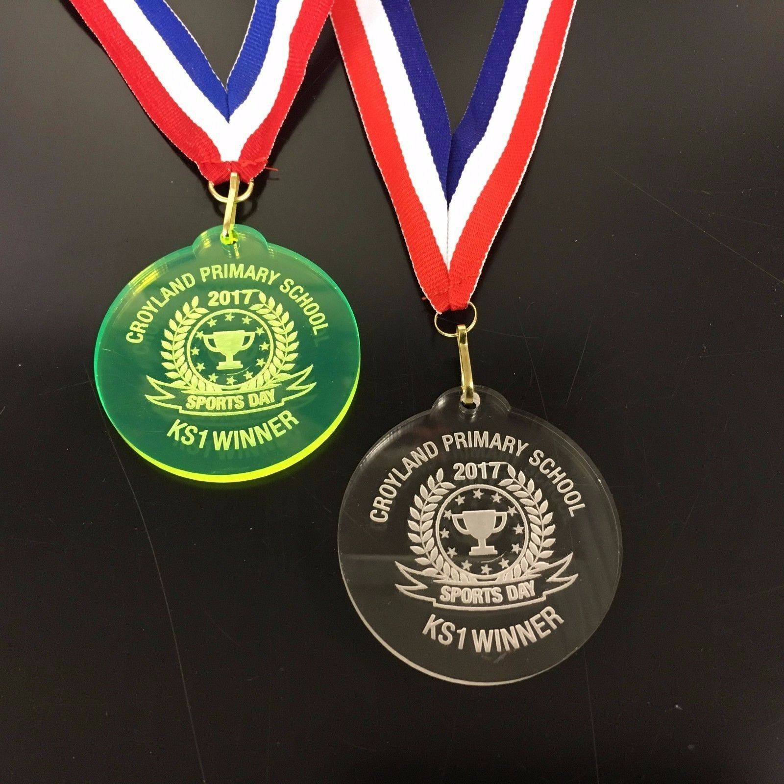 Bespoke School Sports Day Medals on a ribbon ,Engraved Free ,From .40 each