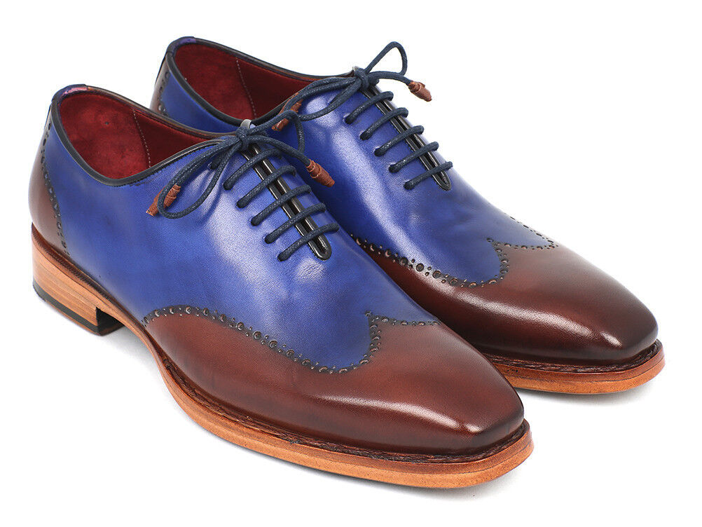 Paul Parkman Uomo all'Inglese Oxford Goodyear guardolo Cucito Blu & Brown (ID#81BLU57)