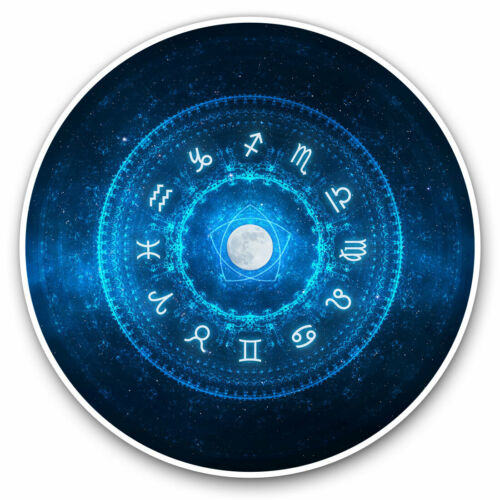 2 x Vinyle Autocollants 7.5 cm-Pleine Lune Zodiac signe astrologie Cool Cadeau #16847