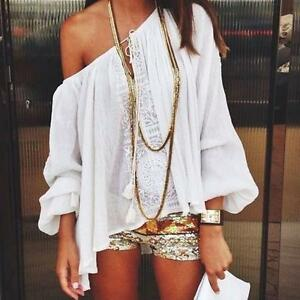 Boho-Women-Off-Shoulder-Fashion-V-neck-Lace-Crochet-Chiffon-T-Shirt-Tops-Blouse