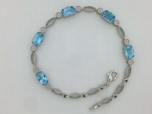 Natural-Blue-Topaz-Bracelet-925-Sterling-Silver