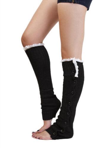 Black Leg Warmers Knit Boot Socks Winter Lace Leg Warmers Crochet  US seller