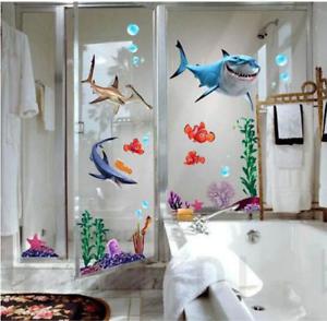 Shark Bathroom Wall Sticker Modern Cartoon Creative Fish Bottom Submarine Decor Ebay