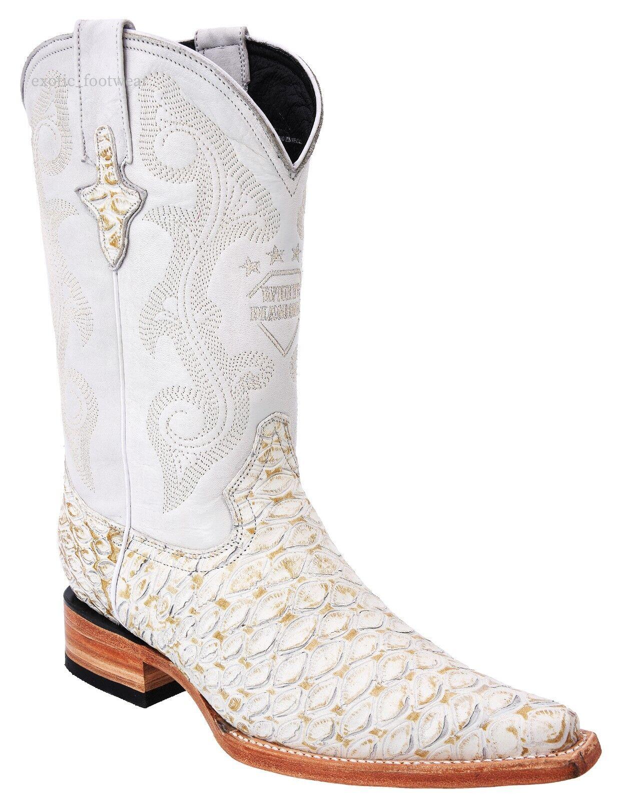 White Diamonds Men's Anteater Print Cowboy Boots 3X Pointy Toe Handmade