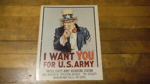 Original Vietnam US army Recruiting Poster Uncle Sam Vintage Detroit I want you