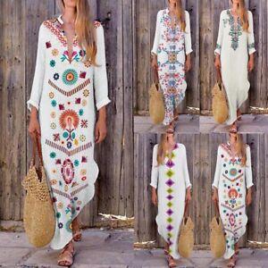 Women-Floral-Maxi-Beach-Dress-Long-Sleeve-Casual-Boho-Kaftan-Tunic-Gypsy-Ethnic