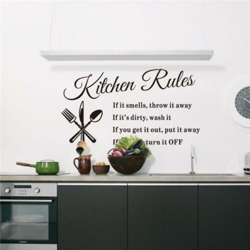 Kitchen Rules Wall Sticker Quote Mural Home Art DIY Decal SL