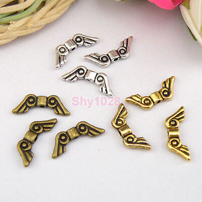 25Pcs Tibetan Silver,Antiqued Gold,Bronze Wing Spacer Beads 6x16mm  M1148