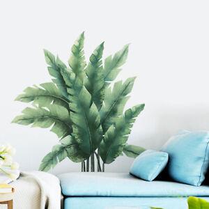 KQ_ Refreshing Tropical Plant Leaf Home Wall Sticker Living Room Decal DIY Decor