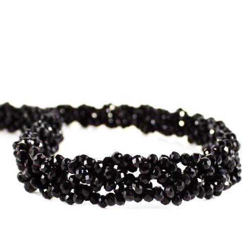 295.00 Cts Naturel Riche Noir Spinelle non traités perles rondes collier