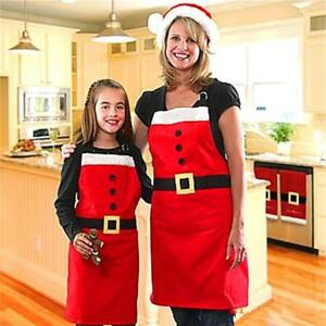 Apron-Christmas-Baking-Cooking-Kitchen-Red-Chef-Santa-Home-Tool-Xmas-Decor-D