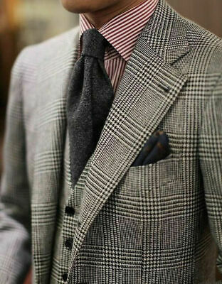 Houndstooth Men/'s Suits Peak Lapel Jacket Double Breasted Coat Business Tuxedos