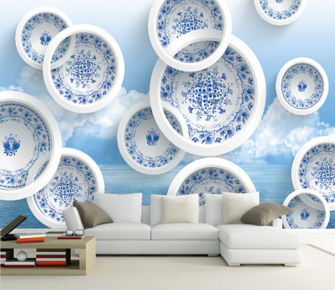 3D Antike Blaumen Platte 74 Tapete Wandgemälde Tapete Tapeten Bild Familie DE | Elegante Form  | Einzigartig  | Räumungsverkauf