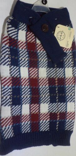 Bond and Co Navy and Red Plaid Scarf Dog Sweater