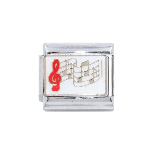 Notas Musicales Blanco Esmalte Italiano-se adapta a 9mm clásico italiano pulsera con dijes de dijes