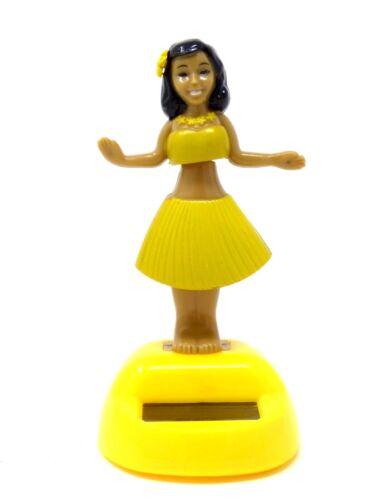 New Solar Powered Dancing Hula Girl ~ Yellow with Yellow Base FREE SHIPPING