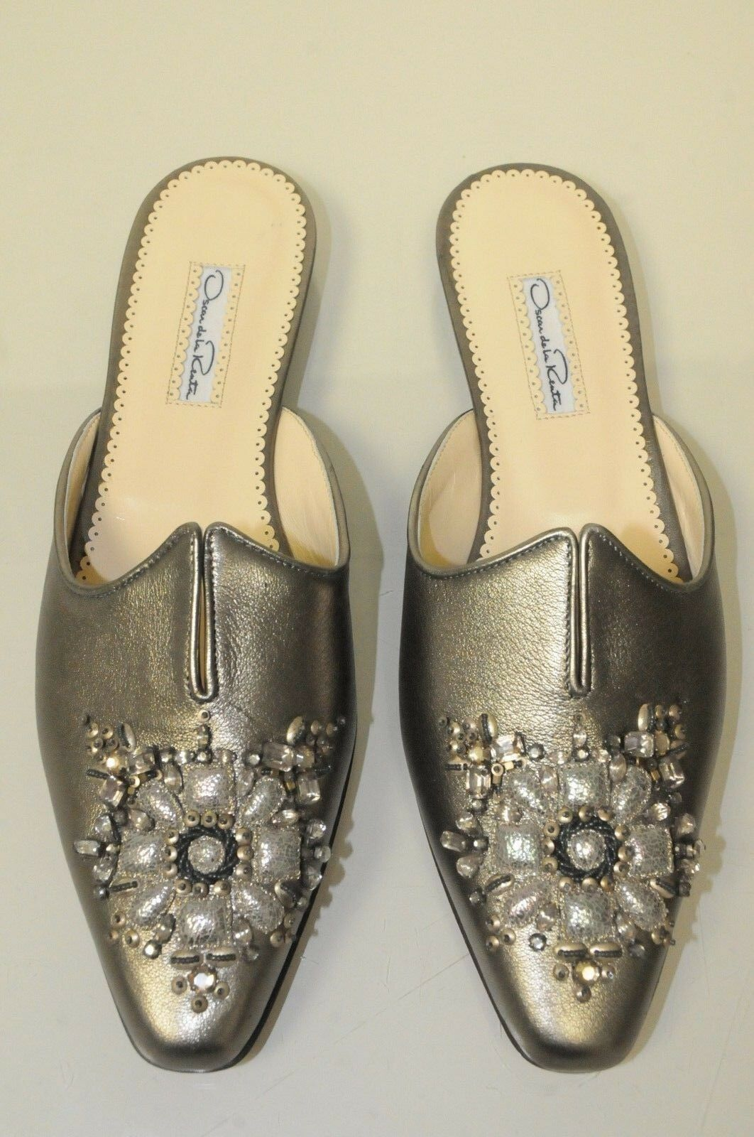 895 NEW Oscar de la Renta Mules Flats Flats Flats Metallic Leather Jeweled shoes 40.5 77b346