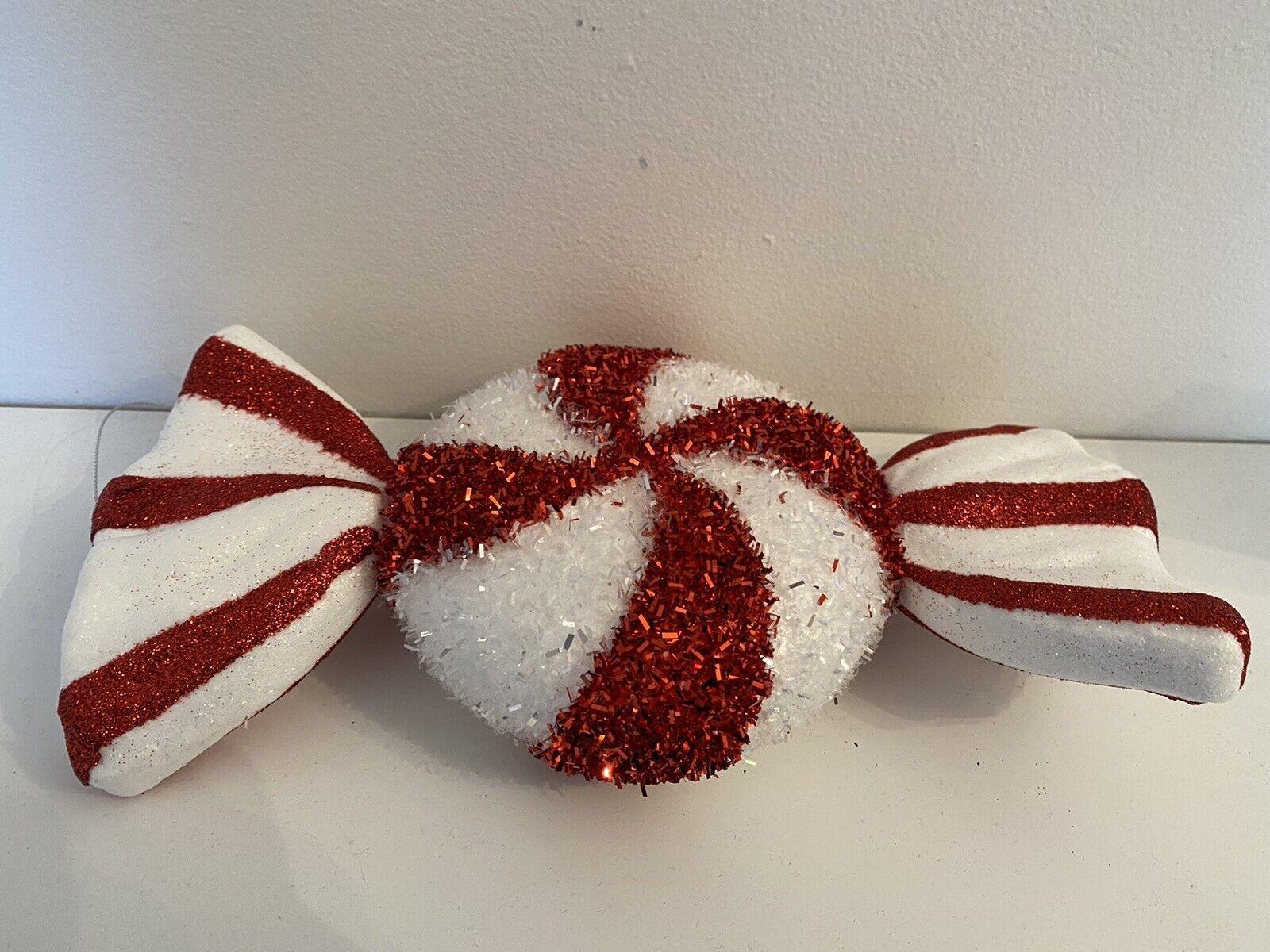 Árbol de Navidad Rojo Blanco Adorno Grande Oropel Bastón De Caramelo Dulce Decoración 30CM