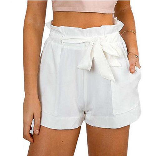 Damen Shorts Sommershorts Bermudas Kurze Hose Freizeit Band NEU
