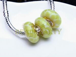 2pcs14X8mm-Round-Dots-lampwork-Glass-Europen-Loose-Big-Hole-Bead-Yellowish-Green
