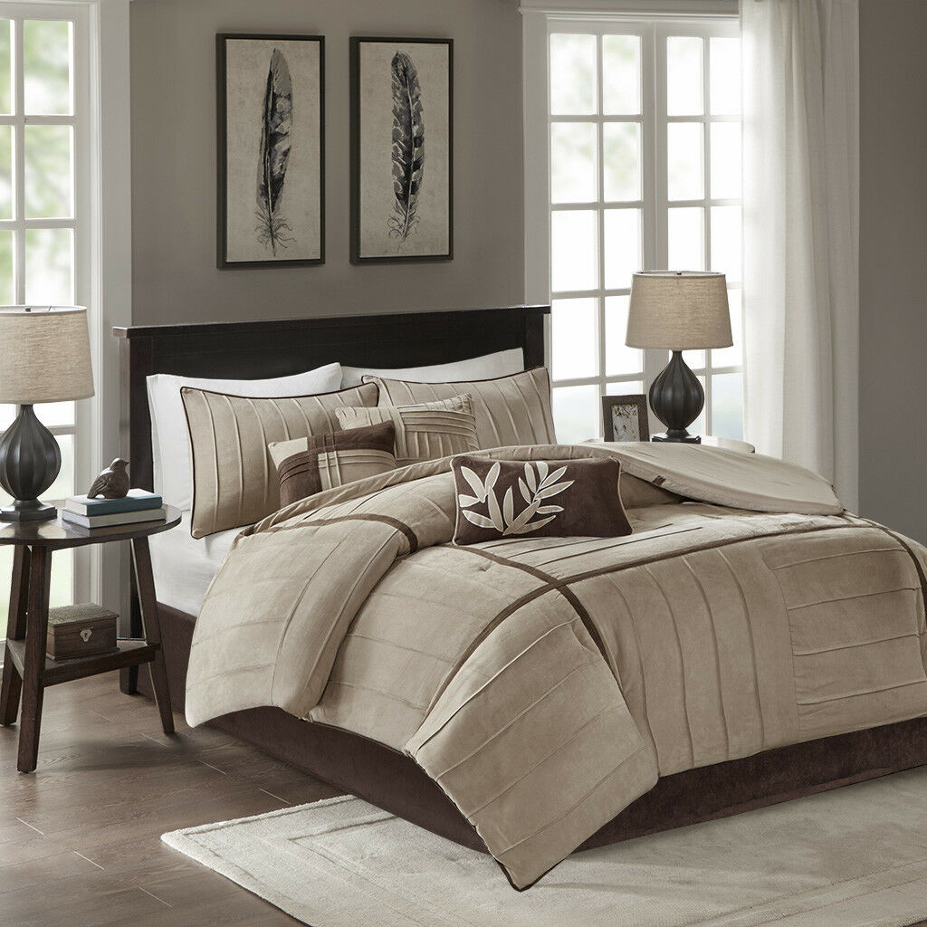 BEAUTIFUL ULTRA SOFT MODERN BEIGE TAUPE CASUAL braun KHAKI TAN COMFORTER SET