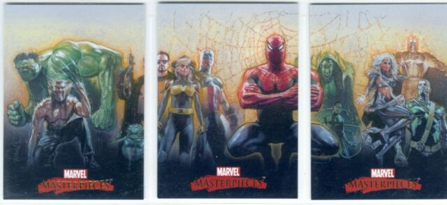 Marvel Masterpieces 2007 Complete Drew Struzan Splash Chase Card Set #1-3
