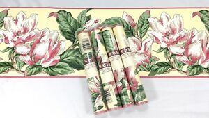 Waverly-Wallpaper-Floral-Yellow-Pink-Bold-Large-Tulip-Flower-Hawaiian-4-Roll-Lot