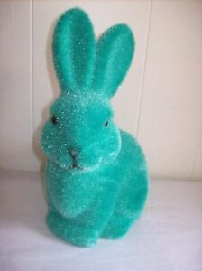 9-034-Flocked-Bunny-Figure-Green-turquoise-SO-CUTE