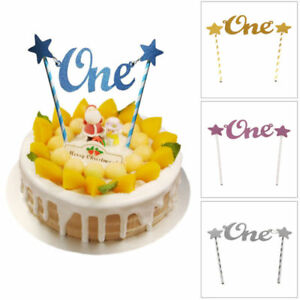 Image Is Loading Glitter Star One 1st Happy Birthday Cake Topper