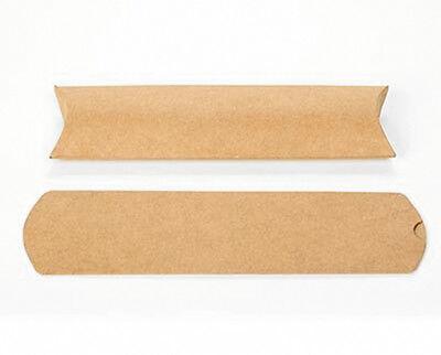 "25 Long Brown Kraft Pillow Boxes 2 x 3/4 x 7"" for Gifts, Packaging, Embellishing"