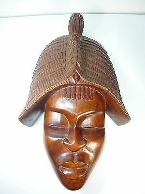 African Hand Carving Wood Mask Tribal Woman Face Wall Hanging Art Deco Wooden Ebay