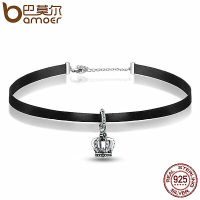 Bamoer Black Classic Choker Necklace with sterling silver Charm Pendant Jewelry