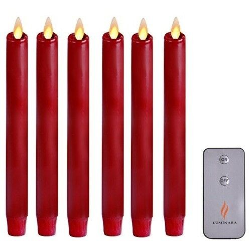 """8/"""" Luminara Flameless Moving Wick Red Taper//Dinner Candle Real Wax Decor 4pcs"""