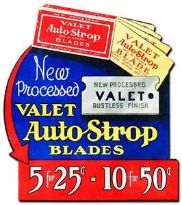Vintage barber shop valet auto strop shaving blades metal sign wall
